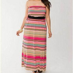 Lane Bryant Striped Sleeveless Maxi Dress
